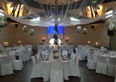Plafond drapé avec poutres apparentes