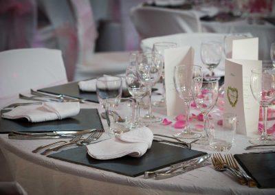 La salle du Clos du Loir décorée pour un mariage