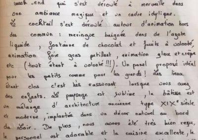 Mot de remerciement Clos du Loir